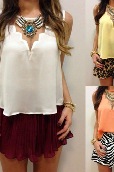 Backless Chiffon Blouse Crop Tank Tops