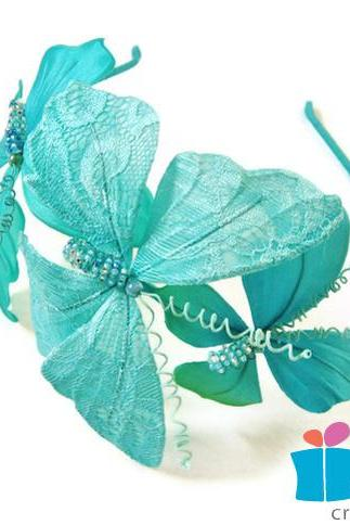 Lace butterfly fascinator, turquoise butterfly headband