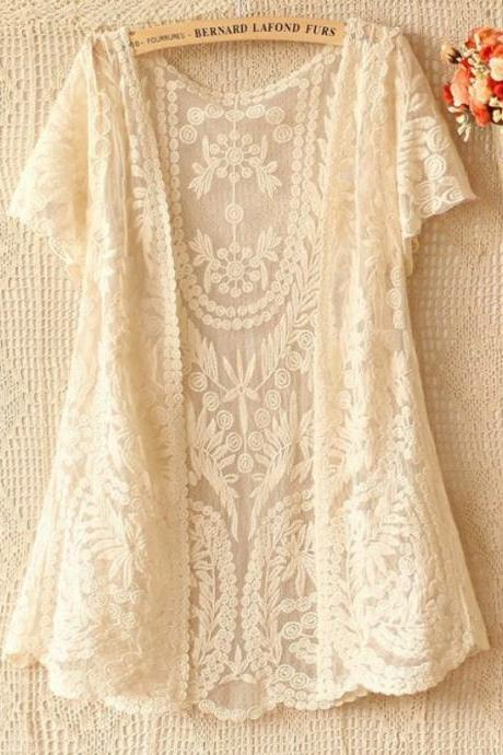 READY FOR SHIPPING Lace Cardigan Bolero Shrug Off White Lace Crochet Short Sleeve White Cardigan
