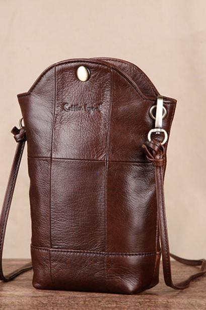 Genuine Leather Phone Pouch Bags Real Brown Leather Phone Carrier for Travelers Credit Card Shoulder Bag