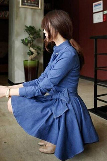 Women Denim Dress with Ruffled Skirts Dress for Teens and Women Denim Cowgirl Blue Dress