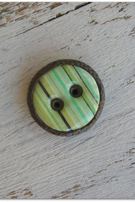 Round Green Stripe Brown Polymer Clay Button Pendant