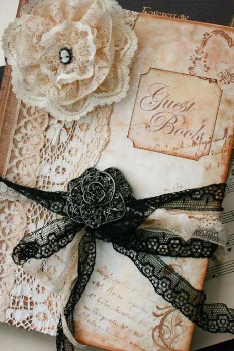 Wedding Guest book - Vintage style in Ivory and Black - Custom 60 pages