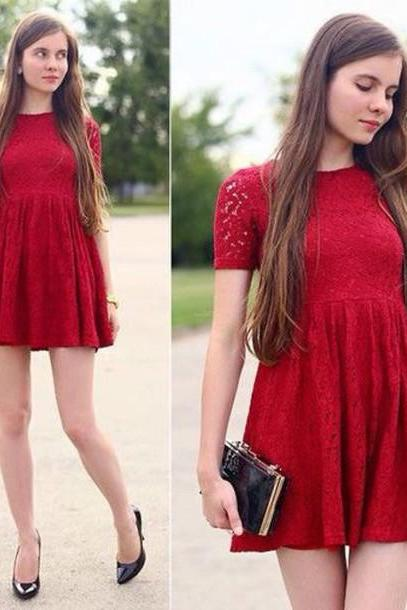 Red prom dress, short sleeve prom dress, prom dress, pretty prom dress, junior prom dress, lace prom dress, evening dress, BD162