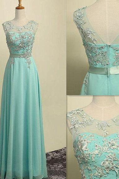 Boat neck Mint green chiffon sleeveless long dress prom dress with appliques elegant evening dress formal party dress graduation dress homecoming dress