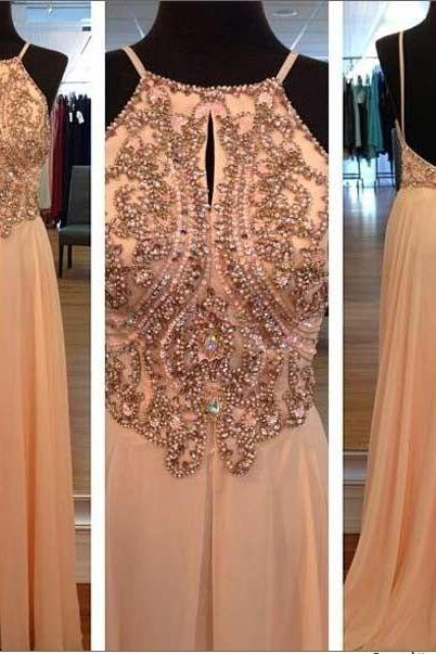 Peach color chiffon dress long beaded halter sleeveless prom dress beaded evening dress formal party dress backless prom dresses