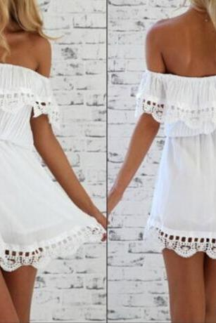 Sexy Bateau Neck Off The Shoulder Short Sleeves Flouncing Designed White A Line Mini Dress VG42417MN