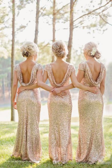 Light gold sequins short sleeve bridesmaid dresses cheap fashion dress for bridesmaid,wedding party dress,prom dress long ,formal dress evening elegant