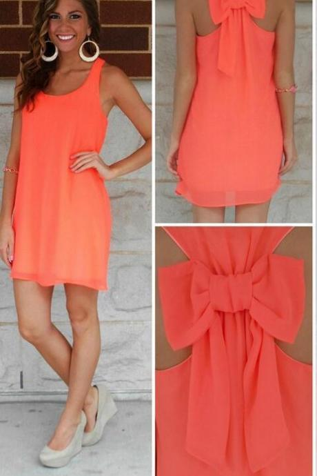 CUTE ORANGE BOW BACK DRESS