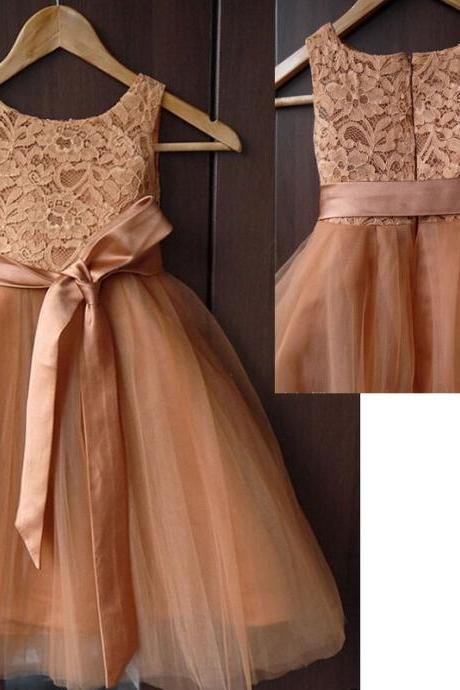 Lovely champagne lace and tulle sleeveless A line ankle length flower girl dress,fashion baby dress