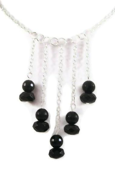 Necklace, Black Onyx Gemstone Necklace, Silver Chain, Bib Style Necklace, Black Necklace