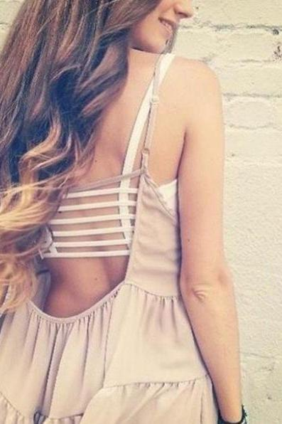 Fashion Personality Sexy Strap Backless Hollow Pure Color Cotton Women Tanks
