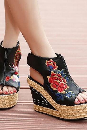 Floral and Fauna Embroidery Wedge Mules
