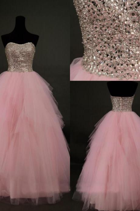 Cute Pink Tulle Beaded Long Prom Gown, Prom Dresses 2015, Formal Gowns, Evening Dresses,Quinceanera Dress