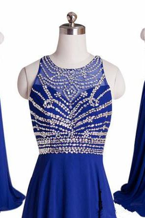 Top Selling Royal Blue Chiffon A-Line Prom Dress 2015 Halter Bandage Backless Sparkly Beading Long Prom Dresses New Open Back Custom Made Evening Prom Gown,Formal Women Dress ,Wedding Party Dress PD044