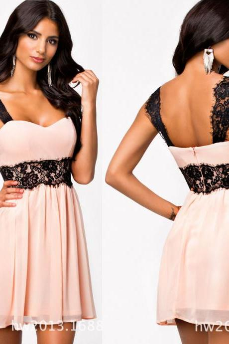 Pink Chiffon dress with black straps A line short prom dress fashion simple evening dress knee length party dress,cocktail dress,homecoming dress