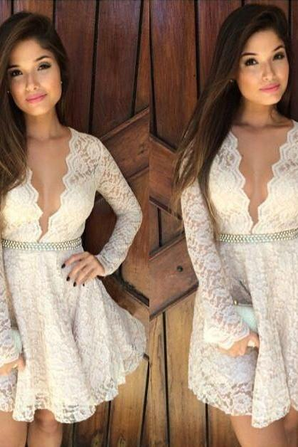 Ivory lace long sleeve deep V neck sexy short prom dress,cocktail dress,party dress
