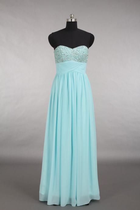 Light Blue Prom Dresses, Sweetheart Neck Prom Dresses, Backless Prom Dresses, Beaded Prom Dresses, Party Dresses