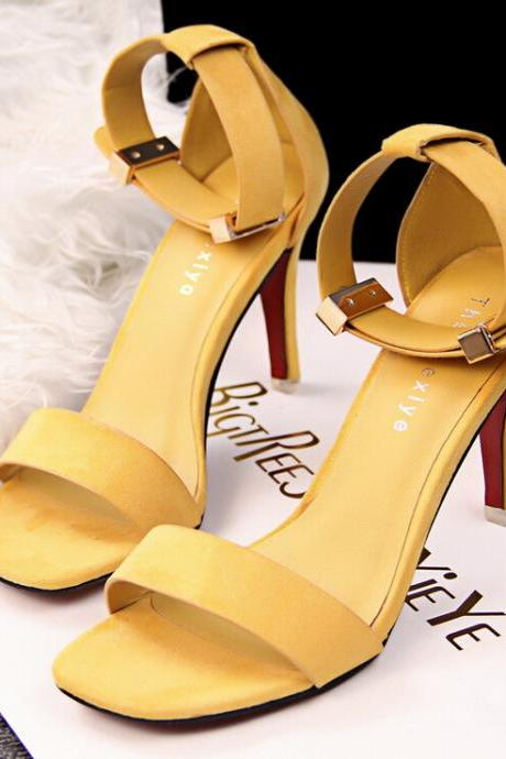 Yellow Faux Suede Square Open Toe Ankle Strap High Heel Stilettos