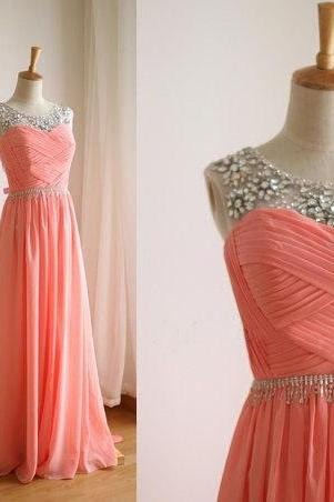 Boat neck most popular watermelon chiffon beaded A line long prom dresses,cheap bridesmaid dress,formal eveening dres,party dress