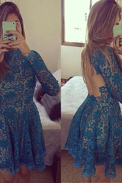 Sexy green lace backless short cocktail dress,prom dress,evening dress,party dress,homecoming dress