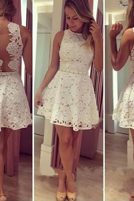 New arrival white lace tank sleeveless a line mini sexy cocktail dress,short prom dress,see through back evening dress,homecoming dress