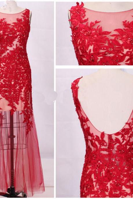 Boat neck sleeve sheath red tulle with appliques floor length long prom dress beaded evening dress,formal party dresses