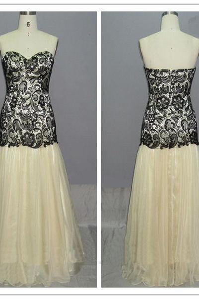 Sweetheart neck champagne prom dress with black lace mermaid long evening dress,formal party dress