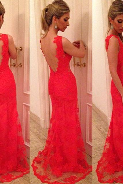 Red lace sexy open back mermaid prom dress,evening formal dress,party dress,graduation dress