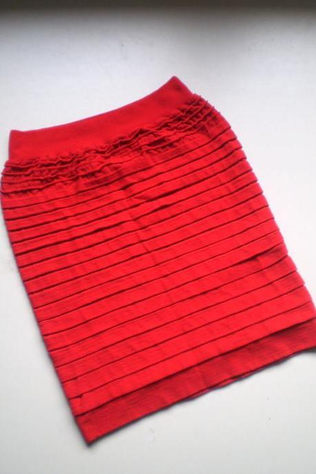 Red ruffle Bodycon mini Skirt