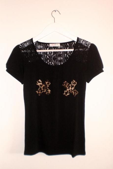 Black lace t shirt leopard cross for women