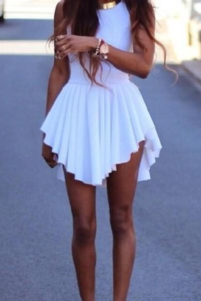 Sexy White Pleated Asymmetrical Hem Dress