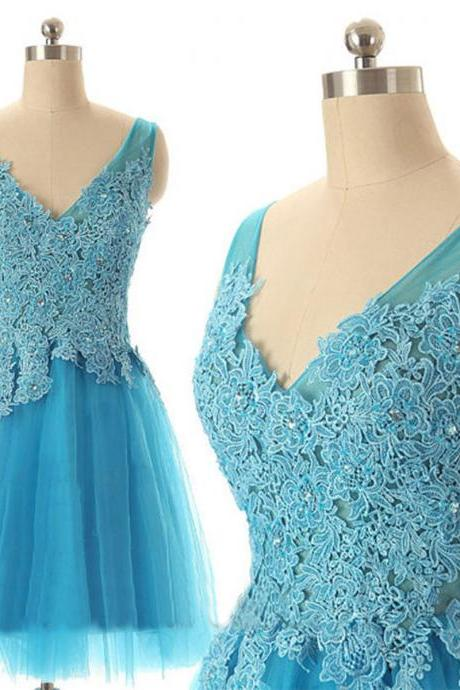Blue tulle V neck sleeveless knee lengthe short cocktail dress,appliqued beaded prom dress,formal party dress