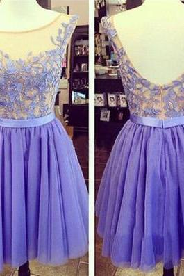 Embroidery cap sleeve blue chiffon knee length beaded cocktail dress,short prom dress
