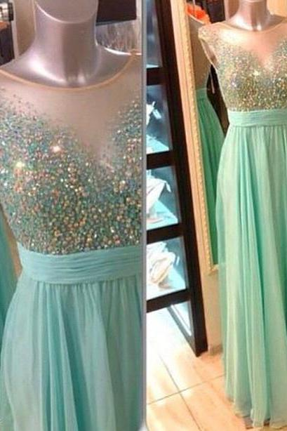 Sexy boat neck mint green chiffon long prom dress,beaded sheer evening dress,formal party dress