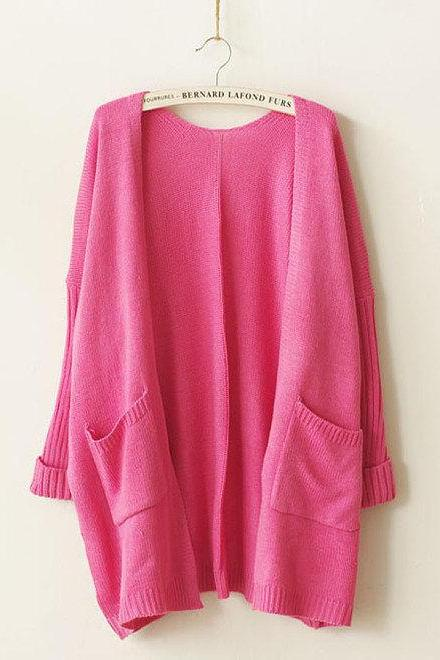 Women Casual Oversized Knit Sleeve Sweater Coat Knitwear Cardigan Jacket New