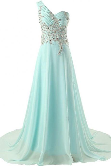 Long One Shoulder Bridesmaid Chiffon Prom Dresses Long Evening Gowns 2015