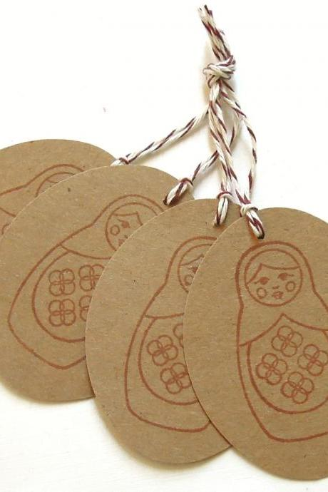 Matryoshka Doll Tags - Set of 4