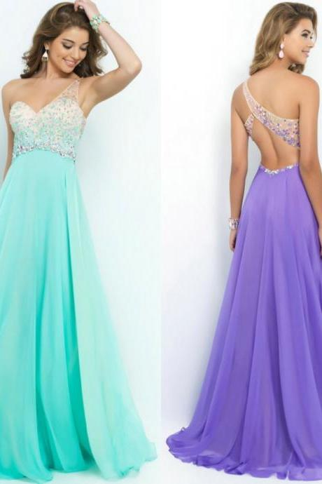 Style 9965 Aquamarine Coral Pink Sea Glass Violet Prom Dress 2015 New One Shoulder Party Gown Vestido de Festa