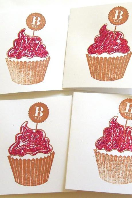 Glitter Cupcake Mini Cards - Set of 4