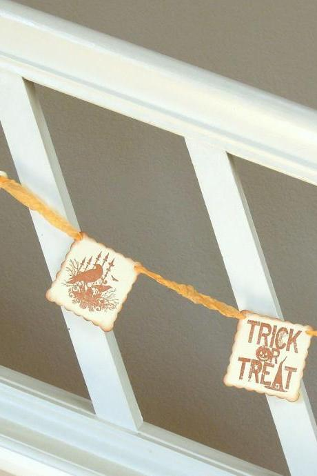 Vintage Inspired Pale Orange Halloween Garland - 1 yard