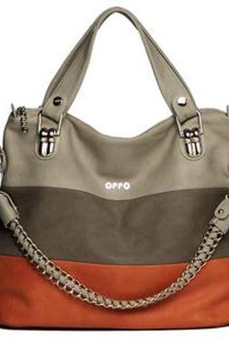 Orange Fashion Color Match Shoulder Tote Bag for woman