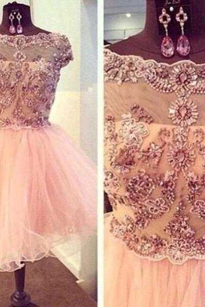 Shiny Applique Lace Beaded Pink Ball Gown Round Neckline Mini Homecoming Dress Party Dress Prom Dress