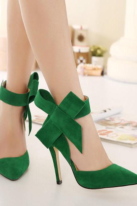 Pointed-Toe Ankle Strap Stilettos, High Heels with Oversized Bow Accent