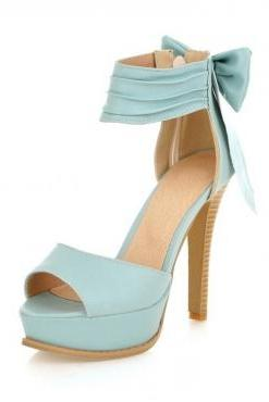 Stylish High Heel Ankle Strap Blue Bow Design Sandals