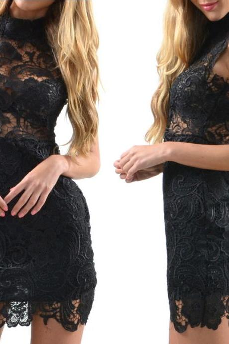 High neck sleeveless mini sexy short black lace cocktail dress,sheer prom dress