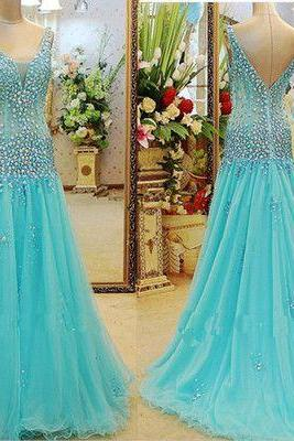Blue tulle sheer sexy V neck mermaid floor length evening prom dresses,beaded high fashion formal party dress