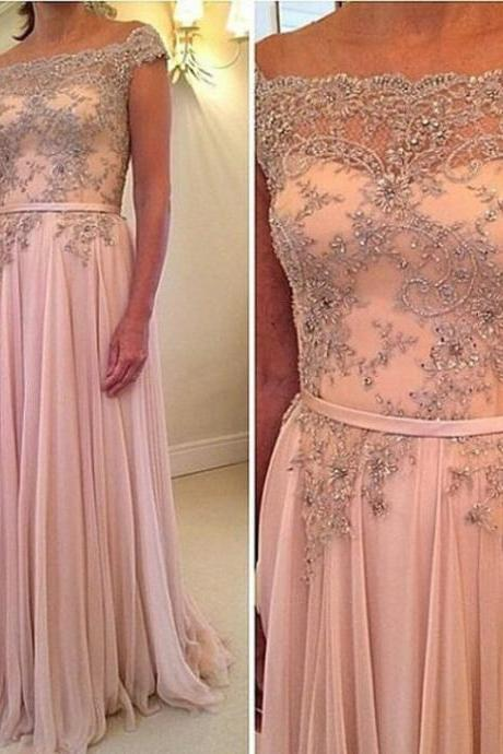 Pink chiffon boat neck A line floor length long beaded prom dress,high quality evening formal dress,homecoming graduation dress