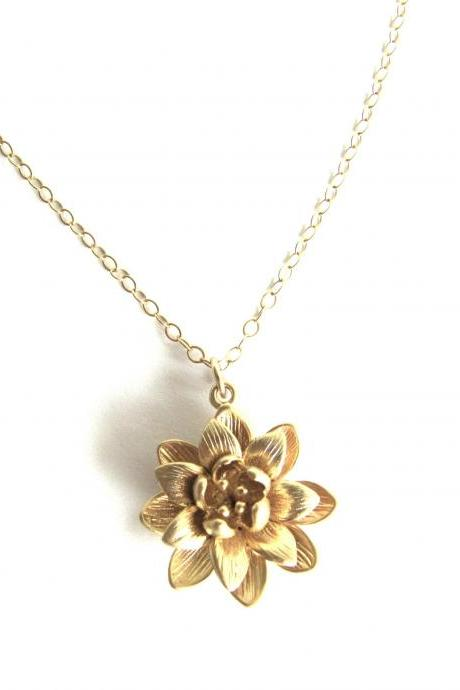 Gold Lotus Necklace - Flower - 14 Gold Filled - Nelumbo