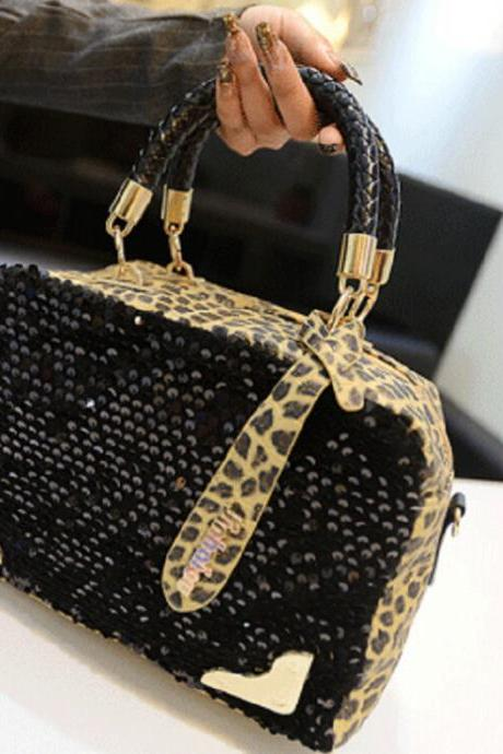 2015 the European and American fashion handbag leopard sequins female bag One shoulder aslant package